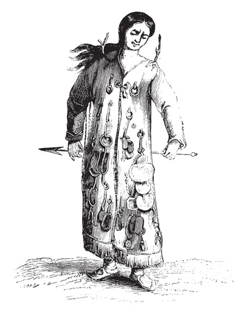 A Shaman, vintage engraved illustration. Magasin Pittoresque 1841.