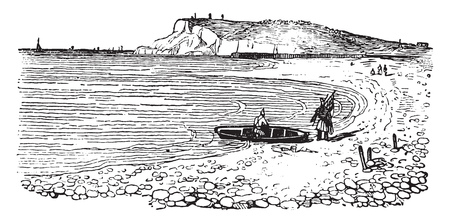 Cap de la heve, in Normandy, vintage engraved illustration. Magasin Pittoresque 1841.