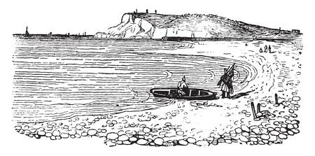 Cap de la heve, in Normandy, vintage engraved illustration. Magasin Pittoresque 1841.