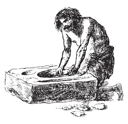 Polishing flints at the Grand Pressigny workshop, vintage engraved illustration. From Natural Creation and Living Beings.