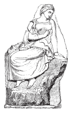 Fragment of a sculpture of the Temple of Olympian Jupiter, Louvre Museum, vintage engraved illustration. Magasin Pittoresque 1855. Illustration