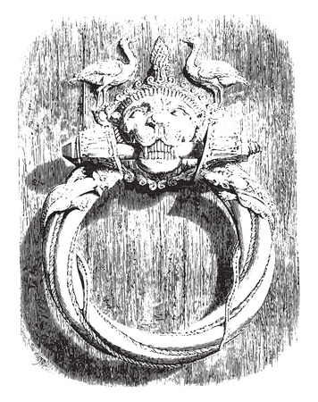 Knocker of the main door of the cathedral of Trani, city of Apulia, Twelfth century 1160, vintage engraved illustration. Magasin Pittoresque 1855. Illustration