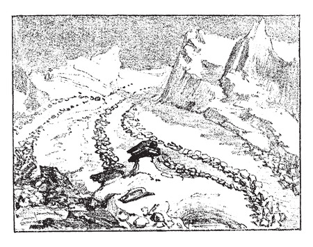 Transport by a glacier of blocks of scuttled stone, vintage engraved illustration. From Natural Creation and Living Beings.  Ilustrace