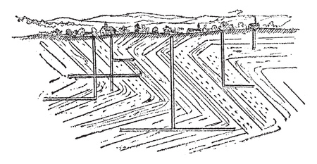 Vertical section of a coal basin and its working galleries showing the folding of the layers of coal, vintage engraved illustration. From Natural Creation and Living Beings.