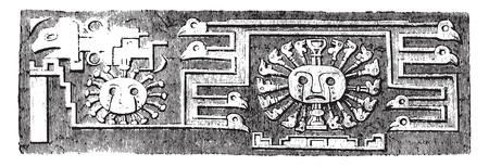 Details of the monolithic gate of Tiahuanaco, Peru, vintage engraved illustration. Magasin Pittoresque 1858.
