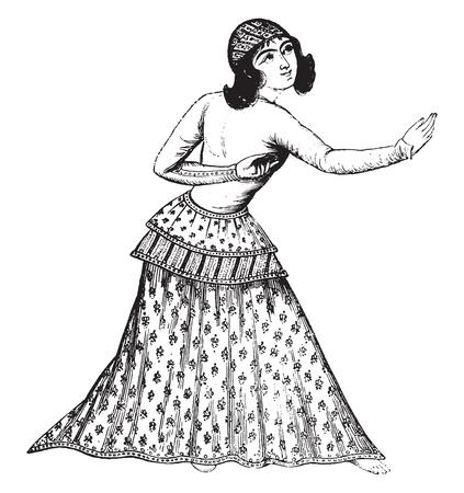 Una bailarina persa, después de una miniatura persa, vintage grabado ilustración. Magasin pintoresco de 1841.