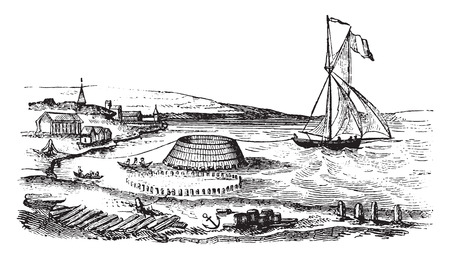 Trailer of a cone of the construction site to the dike, vintage engraved illustration. Magasin Pittoresque 1841.