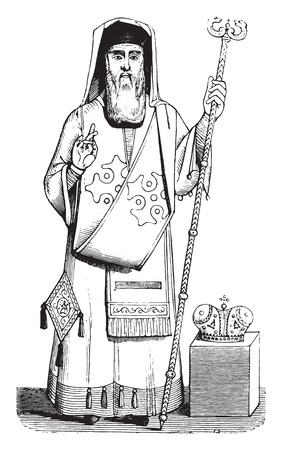 Bishop, Ecclesiastical costume Greece, vintage engraved illustration. Magasin Pittoresque 1844.