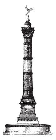 Colonne de juillet, Paris, illustration vintage gravé. Magasin Pittoresque 1841. Vecteurs