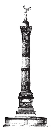 July Column, Paris, vintage engraved illustration. Magasin Pittoresque 1841. Illustration