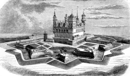The castle Kronborg, in the island Seeland, vintage engraved illustration. Magasin Pittoresque 1844.