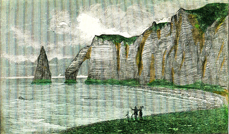 Present state of the chalk cliffs of the coast of the sleeve, vintage engraved illustration. From Natural Creation and Living Beings.