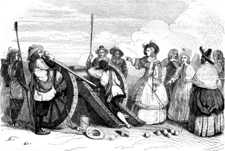 Miss of Montpensier fired the cannon of the Bastille, vintage engraved illustration. Magasin Pittoresque 1844.