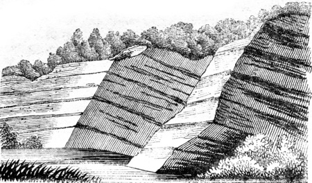 Escarpments by level layers, vintage engraved illustration. Magasin Pittoresque 1841. Stock Photo