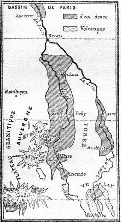 Freshwater lakes from central France to the Miocene period, vintage engraved illustration. From Natural Creation and Living Beings. 写真素材