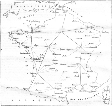 Map of telegraph lines in France and its branch lines, vintage engraved illustration. Magasin Pittoresque 1846. 写真素材