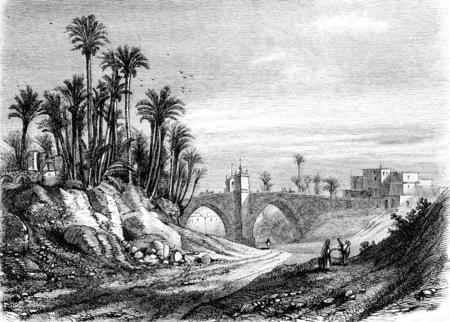 Bridge of Elche, vintage engraved illustration. Magasin Pittoresque 1855.