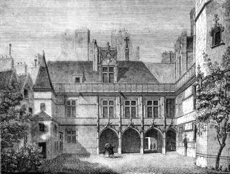 Hotel de Cluny, in Paris, Inside the courtyard, vintage engraved illustration. Magasin Pittoresque 1841. Imagens