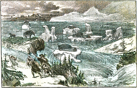 Flooding of central Europe at the end of the glacial period, vintage engraved illustration. From Natural Creation and Living Beings.