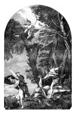 The Martyrdom of St Peter, by Titian, vintage engraved illustration. Magasin Pittoresque 1844. 写真素材