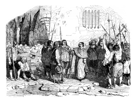 The coadjutor soothing riot, vintage engraved illustration. Magasin Pittoresque 1844. Imagens