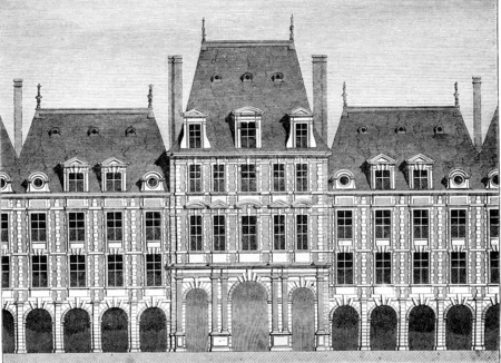 Main Pavilion of the Place Royale, begun under Henri IV and completed under Louis XIII, vintage engraved illustration. Magasin Pittoresque 1844.