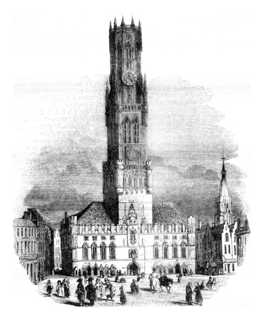 View of the hall of Bruges, vintage engraved illustration. Magasin Pittoresque 1841.