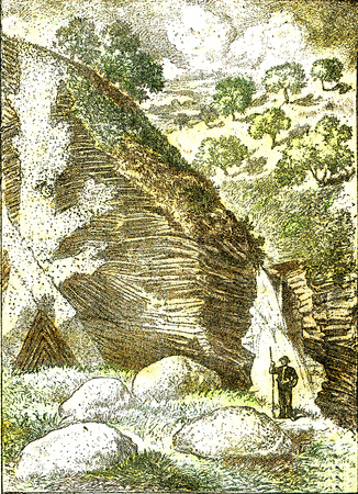 State of a hollow valley in the schists and primitive granites of the central plateau of France, vintage engraved illustration. From Natural Creation and Living Beings. Foto de archivo - 107851601