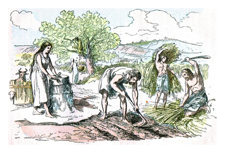 Agricultural work in the Iron Age, vintage engraved illustration. From Natural Creation and Living Beings. Stock Photo