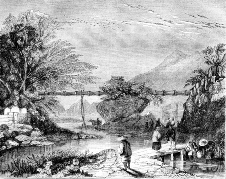 Shooting in the main valley of Hong Kong, Aqueduct bamboo, vintage engraved illustration. Magasin Pittoresque 1844. Фото со стока