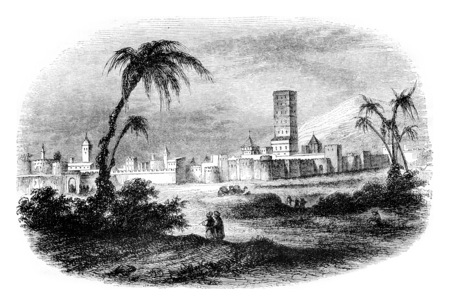 A view of the city of Morocco, vintage engraved illustration. Magasin Pittoresque 1844.