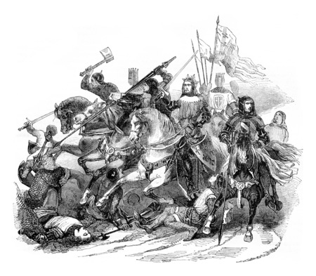 Battle of Bouvines, vintage engraved illustration. Magasin Pittoresque 1844. Фото со стока