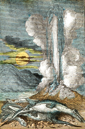 Eruptions of venereal thermal waters, at the period of the line, vintage engraved illustration. From Natural Creation and Living Beings.