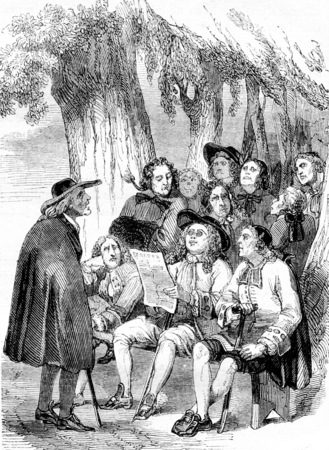 The Novelists under the tree Krakow, Caricature of the eighteenth century, vintage engraved illustration. Magasin Pittoresque 1844. Фото со стока
