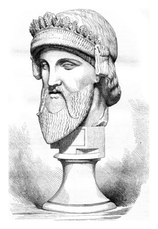 marble bust, vintage engraved illustration. Standard-Bild - 107851700