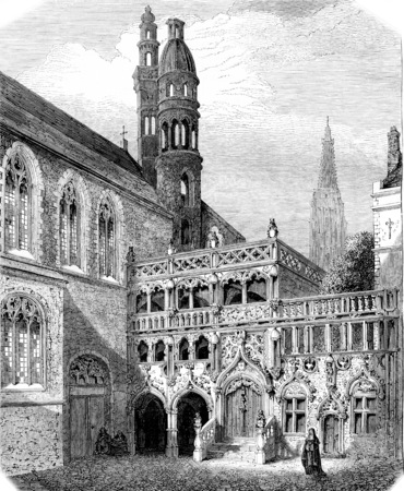 Chapel of the Holy Blood in Bruges, vintage engraved illustration. Magasin Pittoresque 1855. Stock fotó