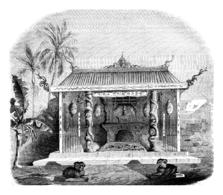 Chinese Temple in Macassar, vintage engraved illustration. Magasin Pittoresque 1846. Stock fotó