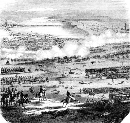 The Battle of Austerlitz, figured after the plans and drawings preserved at the Depot of the war, vintage engraved illustration. Magasin Pittoresque 1844.