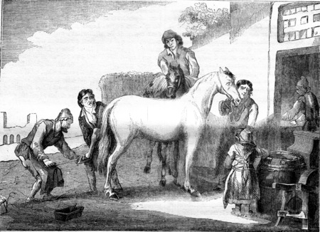 The shoeing Marshal, vintage engraved illustration. Magasin Pittoresque 1841. Stock Illustration - 107851714
