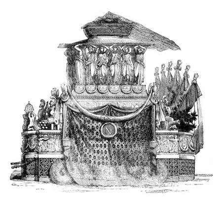 Hearse Napoleon, vintage engraved illustration. Magasin Pittoresque 1841. Stock Photo