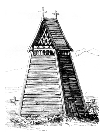 Campanile of the borgund church, vintage engraved illustration. Magasin Pittoresque 1841.