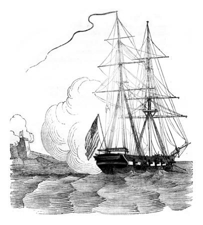 Brig schooner embossed, vintage engraved illustration. Magasin Pittoresque 1841.
