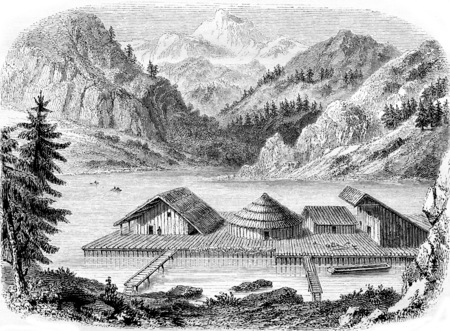 Gallic village on stilts, not far from the village of Milan, Lake Zurich, Restoration after the discoveries of 1851, vintage engraved illustration. Magasin Pittoresque 1855. Stock fotó - 107851957