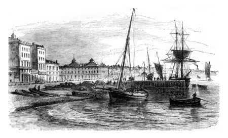 View of part of the harbor before the real Warehouse. Facade of Chartrons, vintage engraved illustration. Magasin Pittoresque 1844.
