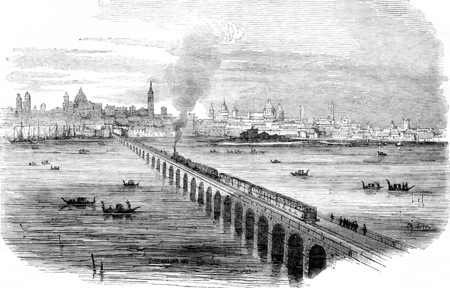 Venice Railway, Viaduct on the lagoons, in execution, vintage engraved illustration. Magasin Pittoresque 1844.