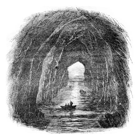 Port coon cellar, Ireland, vintage engraved illustration. Magasin Pittoresque 1844.