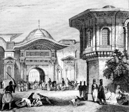 Reception of an ambassador in Constantinople, vintage engraved illustration. Magasin Pittoresque 1844.