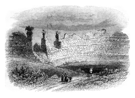 Ruins of an ancient theater, a Lillebonne, vintage engraved illustration. Magasin Pittoresque 1841.