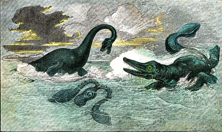 The plesiosaur and ichthyosaur of the period of the Lias, vintage engraved illustration. From Natural Creation and Living Beings. Stock Photo