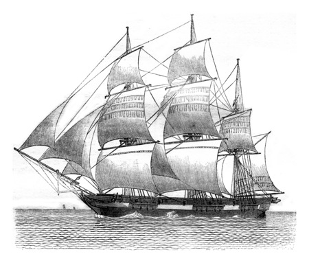 Gabare dropped, the moorings to starboard, side view, vintage engraved illustration. Magasin Pittoresque 1841.